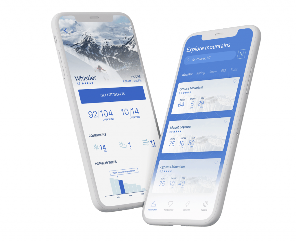 UX design project showing mountain visual from app mock up