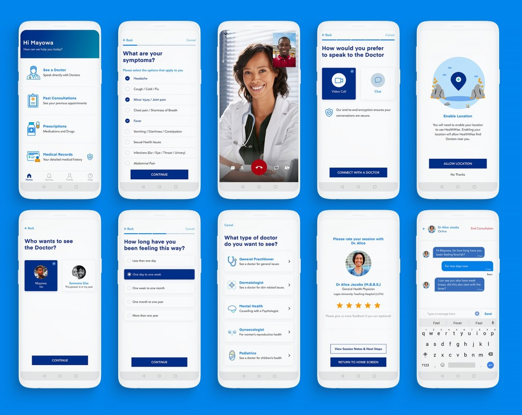10 screenshots of HealthWise showing different features in the app including 1-on-1 consultations and booking an appointment