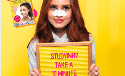 "Biore campaign by Blue Ant Plus. Image shows woman wearing a biore cleansing strip on bright yellow background holding a sign saying ""Studying? Take a 10-mni break"""