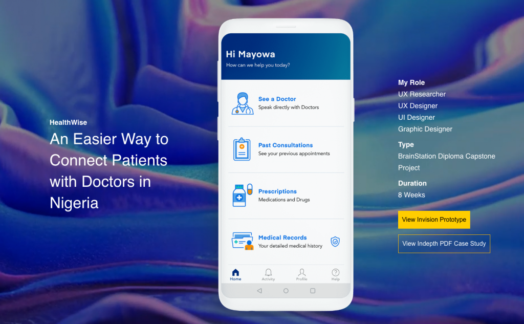 screenshot of the hero image on Mosope's portfolio page. Image shows a screenshot of an app page and the caption: An Easier Way to Connect Patients with Doctors in Nigeria