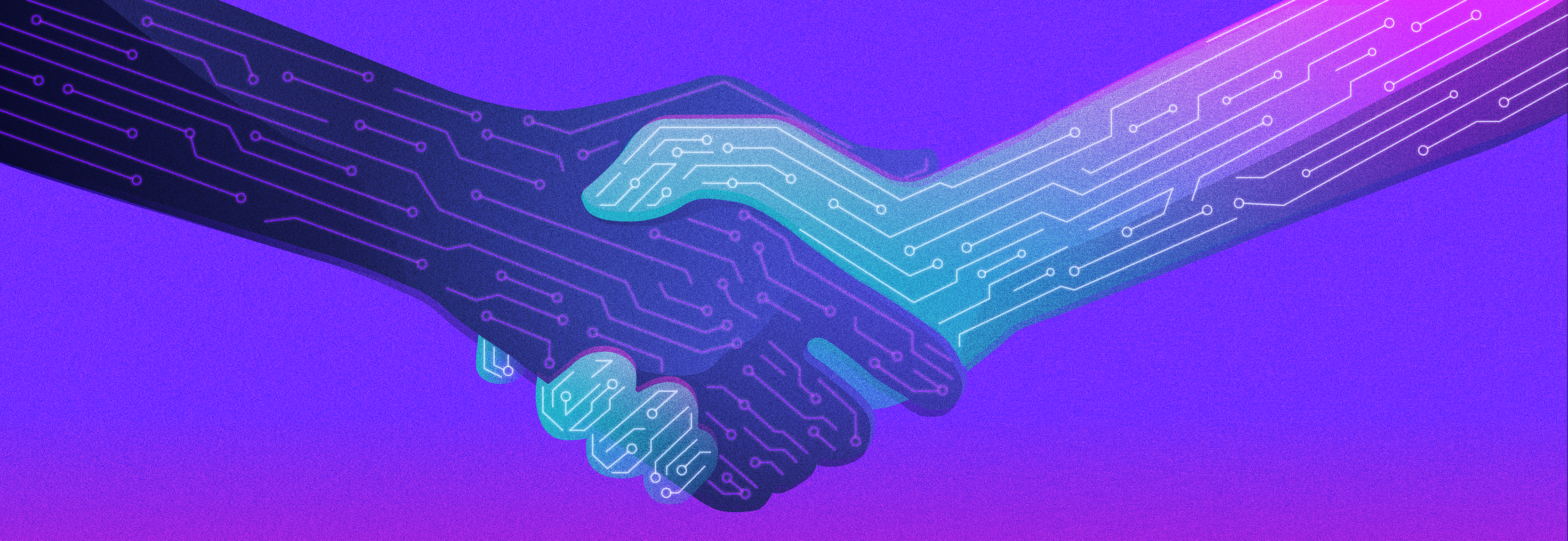 illustration of hand shaking, they are illustrated with computer chip boards on their skin