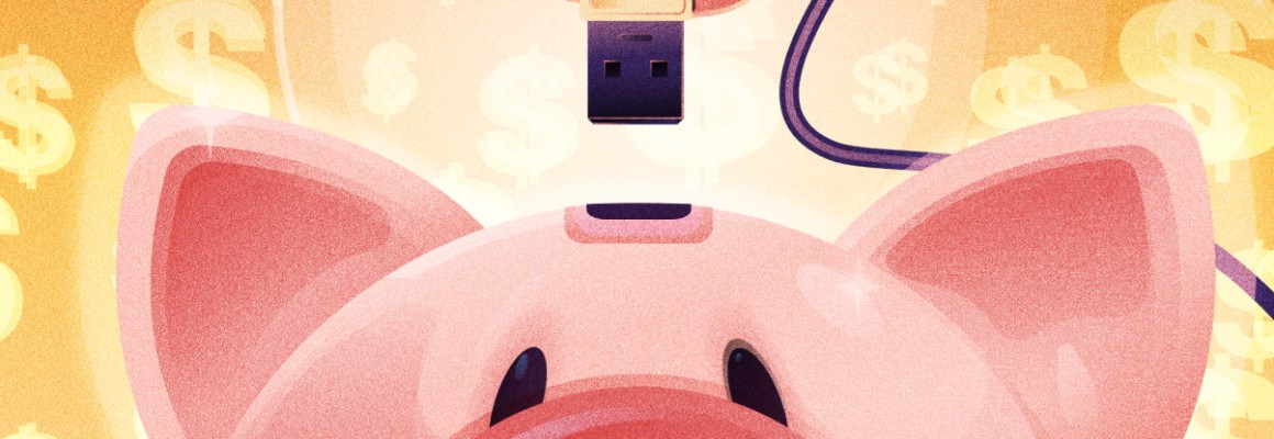 illustratino of a usb key being plugged into a piggybank