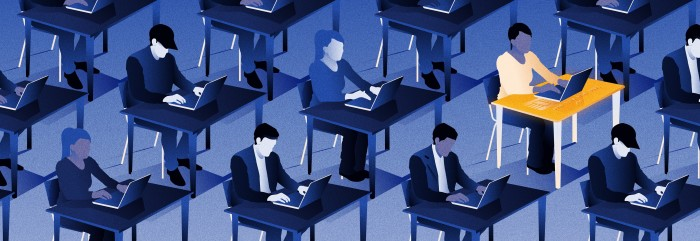 illustration of rows of people working on computers in dark blue hues. There is one person highlighted gold amongst the rows.
